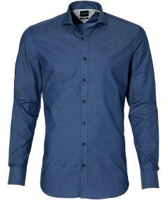City Line by Nils overhemd - bodyfit - blauw