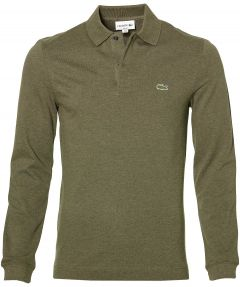 sale - Lacoste polo lange mouw - slim fit - groen